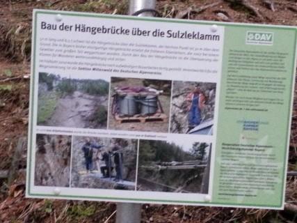 Schild Hängebrücke Brunnsteinhütte Sulzleklamm